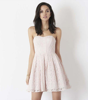 Lace Fit and Flare Dress MAUVE CHALK