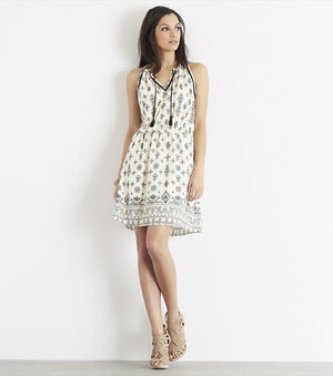 Printed Fit And Flare Dress with Tassels EMBROIDERY PRINT