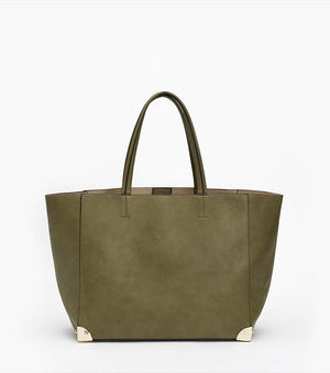 Two-In-One Tote Bag KHAKI/BEIGE;RED/BEIGE