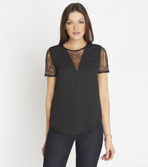 Tee With Lace Inserts JET BLACK