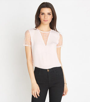 Tee With Lace Inserts MAUVE CHALK