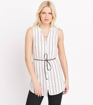 Belted Striped Tunic RED STRIPES