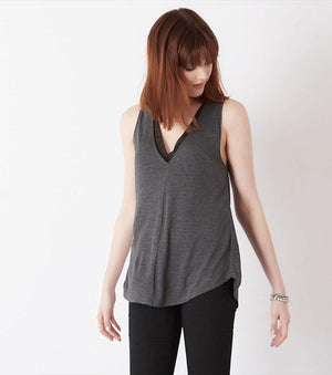 V-Neck Tank With Sheer Insert GREY MIX/JET BLACK