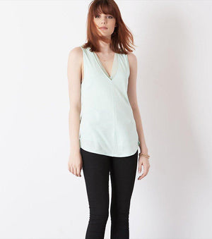 V-Neck Tank With Sheer Insert FAIR AQUA