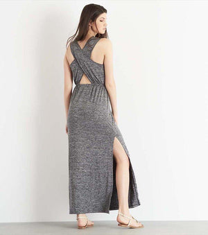 Wrap Maxi Dress with Back Cutout GREY MIX