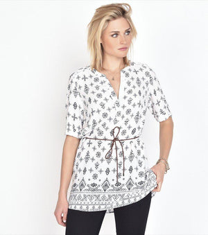 Belted Printed Tunic EMBROIDERY PRINT
