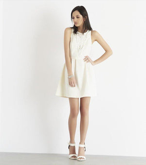 Fit And Flare Dress with Lace JET BLACK;MARSHMALLOW