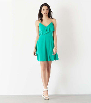Fit and Flare Dress with Embellished Straps DYNASTY GREEN