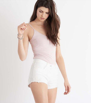 Denim Short with Lace BRIGHT WHITE