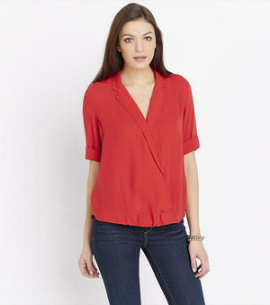 Wrap Blouse with Collar Details DARK FLAME SCARLET