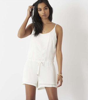 Front Embroidered Romper MARSHMALLOW