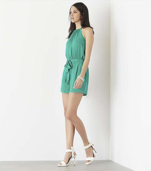 Halter Romper with Tassels DYNASTY GREEN