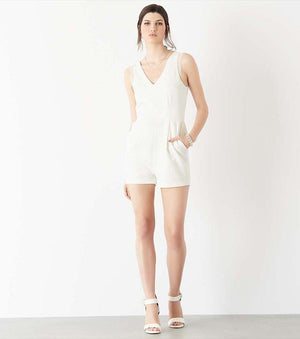 Romper with Lace MARSHMALLOW