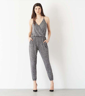 Wrap Knit Jumpsuit GREY MIX
