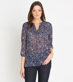 Sheer Blouse With Slits DISTORTED DOTS