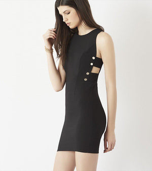 Bodycon Dress with Side Cutouts BRIGHT WHITE;JET BLACK