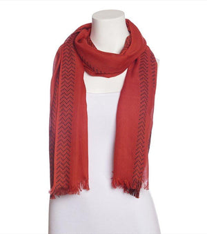Aztec Oblong Scarf RED