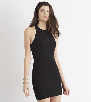 Bodycon Dress with Mesh JET BLACK