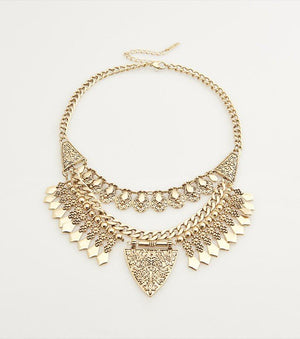 Three Row Statement Necklace BURNISHED GOLD