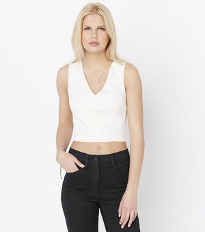 V-Neck Crop Top MARSHMALLOW
