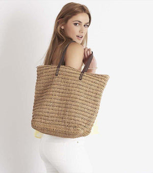 Straw Beach Bag BEIGE;FUSCHIA