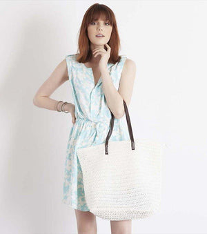 Straw Beach Bag BLACK;CREAM