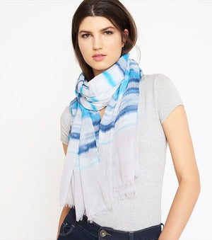Tie-Dyed Oblong Scarf BLUE COMBO
