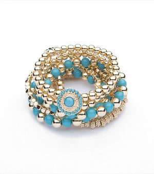 Beaded Bracelet Set Gold/Turquoise