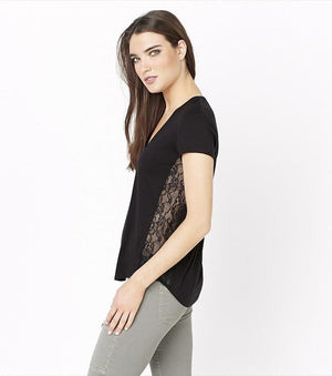 V-Neck Tee with Lace DUSTY PINK;JET BLACK