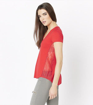 V-Neck Tee with Lace FLAME SCARLET