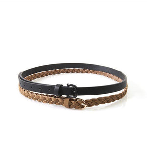 Skinny Belt Duo COGNAC/BLACK;CREAM/MINT