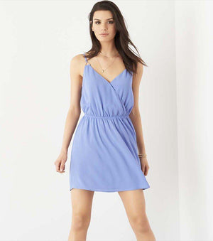 Wrap Fit and Flare Dress DEEP PERIWINKLE