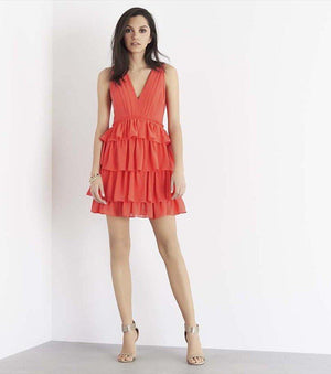 Ruffled Fit and Flare Dress CAYENNE