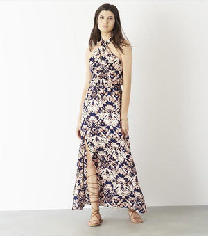 Printed Halter Maxi Dress TIE DYE ZIG ZAG