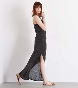 Racerback Maxi Dress with Slit BLACK MIX