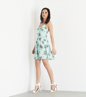Floral Fit And Flare Dress with Ruffles CONTRAST BOTANIC