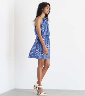 Fit and Flare Halter Dress with Cutout SNAKY DOTS