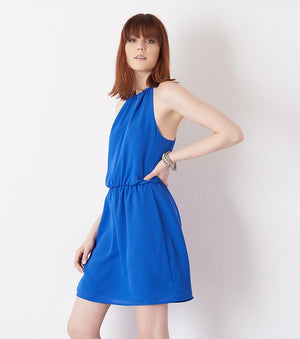 Fit and Flare Halter Dress with Cutout EQUINOX