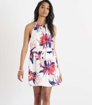 Fit and Flare Halter Dress with Cutout TROPICAL FLORAL