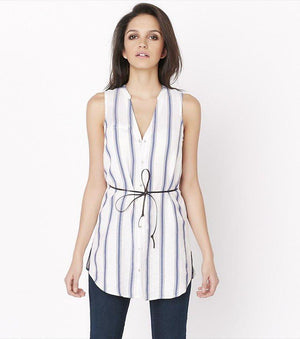 Belted Striped Tunic BLUE STRIPES
