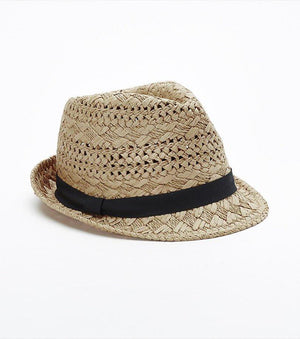 Straw Fedora Hat NATURAL/BLACK