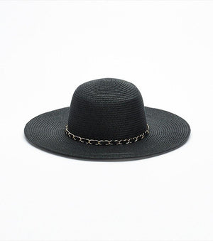 Floppy Hat with Chain Trim BLACK