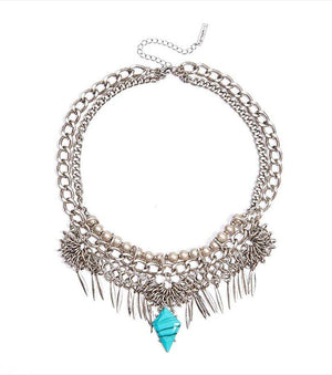 Tribal Statement Necklace RHODIUM/TURQUOISE