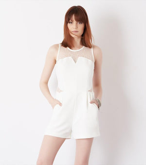 Romper with Lace Cutouts MARSHMALLOW
