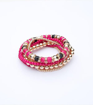 Beaded Bracelet Set GOLD/FUCHSIA