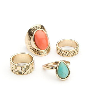 Aztec Ring Set ANT. GOLD/TURQUOISE