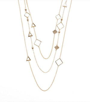 Three Tier Geo Necklace GOLD