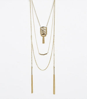 Three Tier Necklace with Fringe GOLD