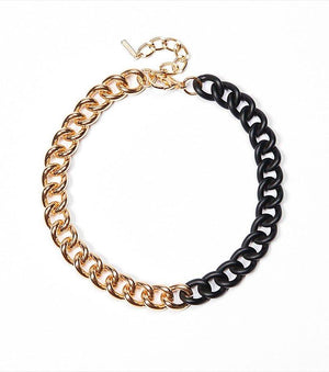 Two-Tone Chain Necklace GOLD/BLACK