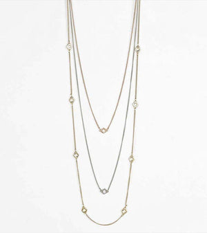 Three Tier Geo Necklace GOLD/RHODIUM/ROSE
